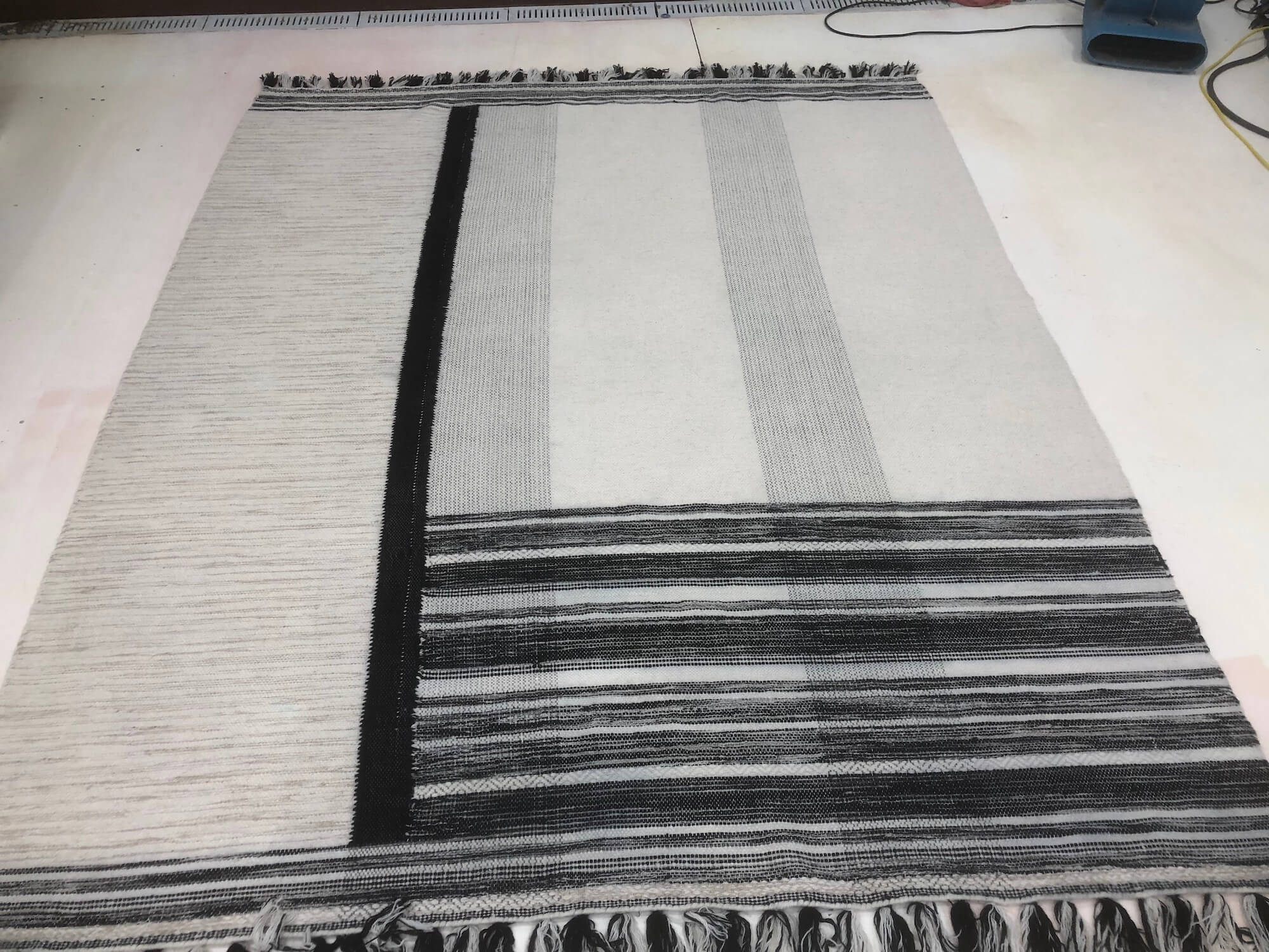 Chem-Dry Cleaned Black & White Rug